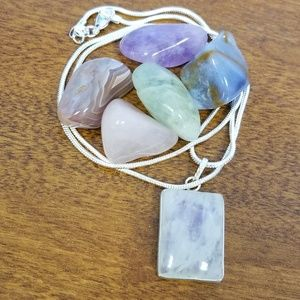 Solid sterling silver rainbow moonstone pendant